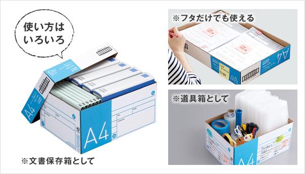 使い終わったコピー用紙の箱が保存箱として使える!再活用に便利な工夫がいっぱいです。